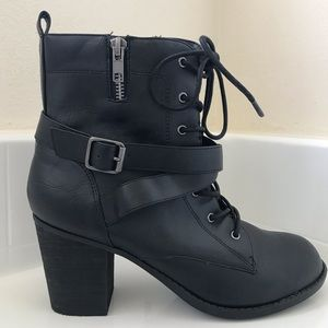 Black lace up wrap bootie
